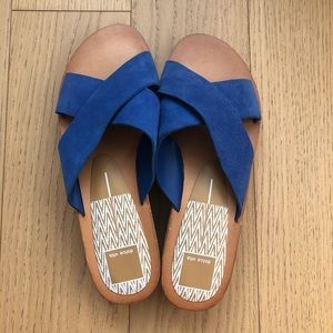 Dolce Vita Monica Blue Suede Sandals Sz 8 NWOB